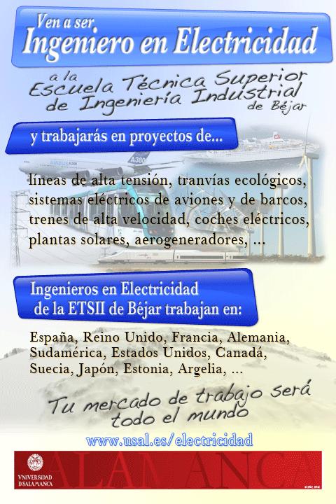 Cartel publicitario del grado de Ingeniería Eléctrica